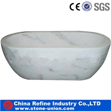 White Polished Marble Wash Bathtub & Surround