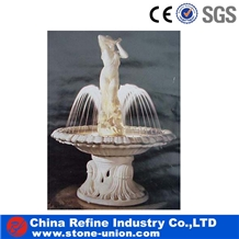 Yellow Marble Hand Caved Stone Fountain