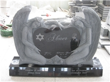 Black Granite Engraved Angel Monument 01