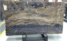 Blue Sodalite with Black Slabs Wall Covering