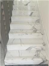 Calacatta White Marble Stair Treads