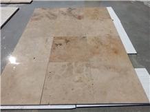 Beige Travertine Unfilled-Brushed Tiles