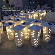 Light Grey Stone Mailbox Look Lanterns Landscape