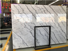 Bookmatching Grey White Marble Slab with Blue Vein