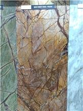 Rainforest Gold Marble Slabs, Tiles