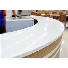 Artificial Marble Stone Acrylic White Color Reception Counter