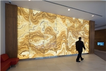 Thin Backlit Laminated Onyx Wall Panel Tile