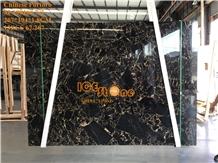 China Athen Black Gold Portoro Marble Slabs Tiles