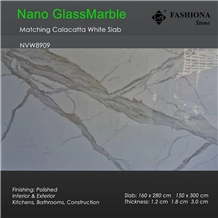 Calacatta White Nano Glass Marble Matching Slab