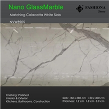 Calacatta Whithe Artificial Glass Marble Slab