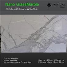 Nano Calacatta White Glass Marble Matching Slabs