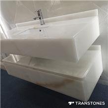 Polished Translucent White Faux Onyx Vanity Top
