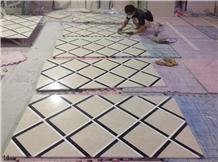 Beige Marble Tile Floor Square Waterjet Medallions
