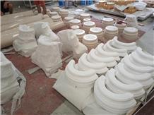 China White Marble Stone Column Capital Base Tops