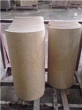 Galala a Beige Marble Column Pillars Pedestal