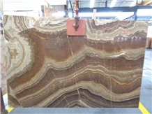 Gold Brown Onyx Slabs China Jady Wall Panel Tiles