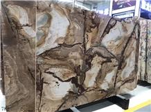 India Teak Wood Marble Brown Gold Stone Slab Floor