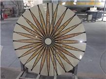 Natural Marble Round Tile Floor Waterjet Medallion