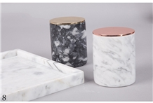 Natural Stone White Black Marble Candle Holder