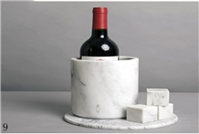 Natural Stone White Marble Red Wine Bucket Rack