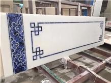 Sodalite Blue Hall Tile Floor Waterjet Medallion