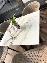 Stone Landscape White Marble Table Top Bar Desk