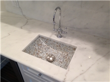 Greece Volakas White Marble Polished Vanity Top