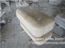 G682 Yellow Rust Stone, Outdoor Stone Chair