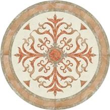 Beige Marble Round Waterjet Pattern