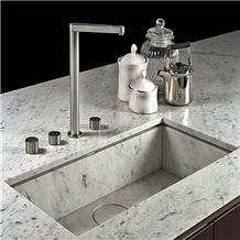 Carrara White Marble Vanity Top with Sink