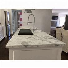 Precut Kitchen Calacatta White Marble Countertop