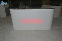 Artificial Stone White Reception Counter Desk