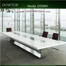 Glossy White Meeting Table Solid Surface Top