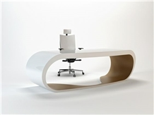 Modern White Solid Surface Ceo Office Desk
