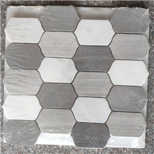 Black Mixed White Marble Waterjet and 3d Mosaic