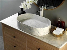 China Carrara White Stone Cheap Bathroom Sink
