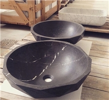 Irregular Shape Black Stone Bathroom Sink