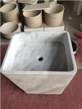 Marble Volakas Pedestal Basin for Bathroom