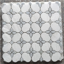 Polished Irregular Design Water-Jet Marble Mosaic