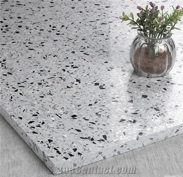 White And Blue Cement Terrazzo Stone Flooring From China