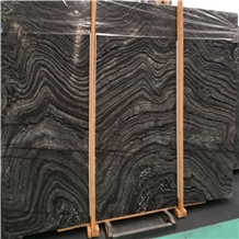China Black Froest Wooden Gain Marble Slabs Tiles