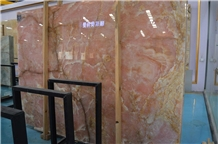 China Luxury Rose Pink Onyx Slabs Tiles