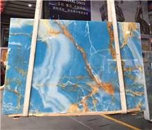 Golden Blue Onyx Slabs Tiles