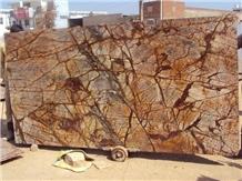 India Bidasar Gold Brown Marble Slabs Tiles