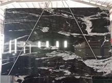 Black Granite White Veins Slab