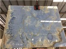 Blue Onyx 16mm Slab Use in Back Wall