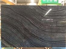 China Black Wooden Marble Slab