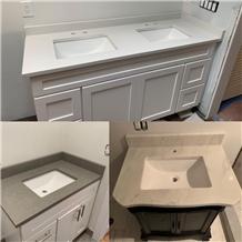 Carrara White Quartz Kitchen Countertopss