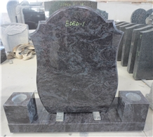 Bahama Blue Granite Headstone Upright Tombstone 09