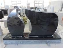 Black Granite Headstone Style Upright Monument 15